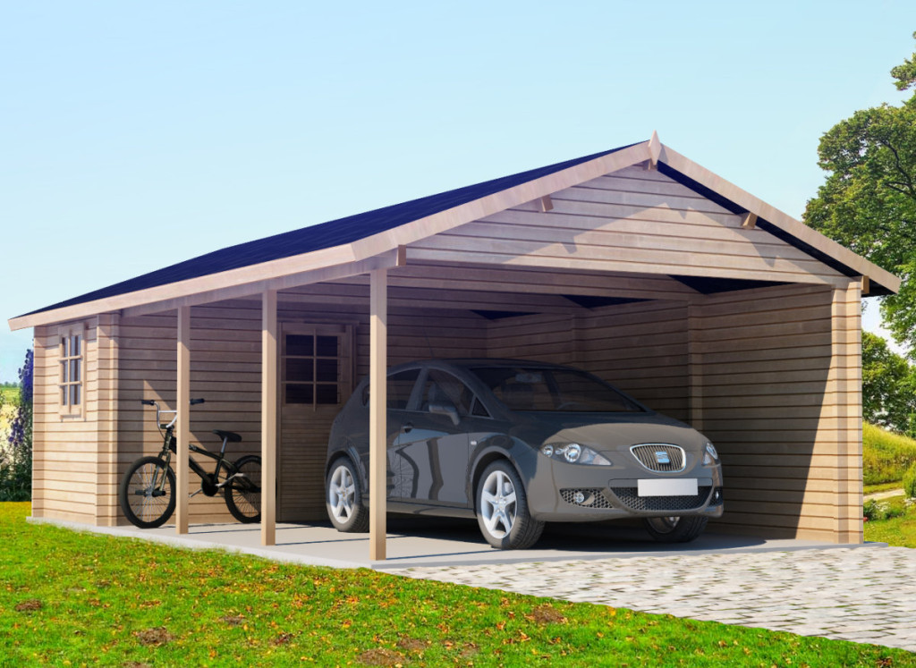 Extra Large Wooden Carport Emma With Tool Shed 30m² 44mm 43 X 77 M Timbercabins24conz