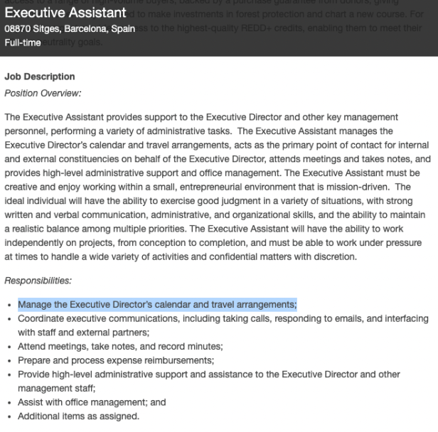 LEAF Coalition jobs description shows first responsibility of the Executive Assistant is to coordinate travel.