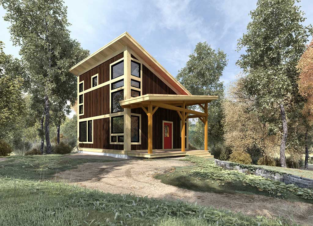 Timber frame home plans woodhouse the timber frame company for Modern timber frame house plans