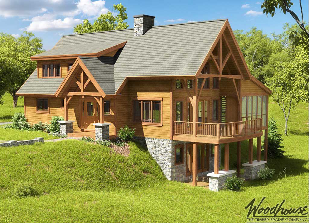 Timber frame home plans woodhouse the timber frame company for Wooden home plans