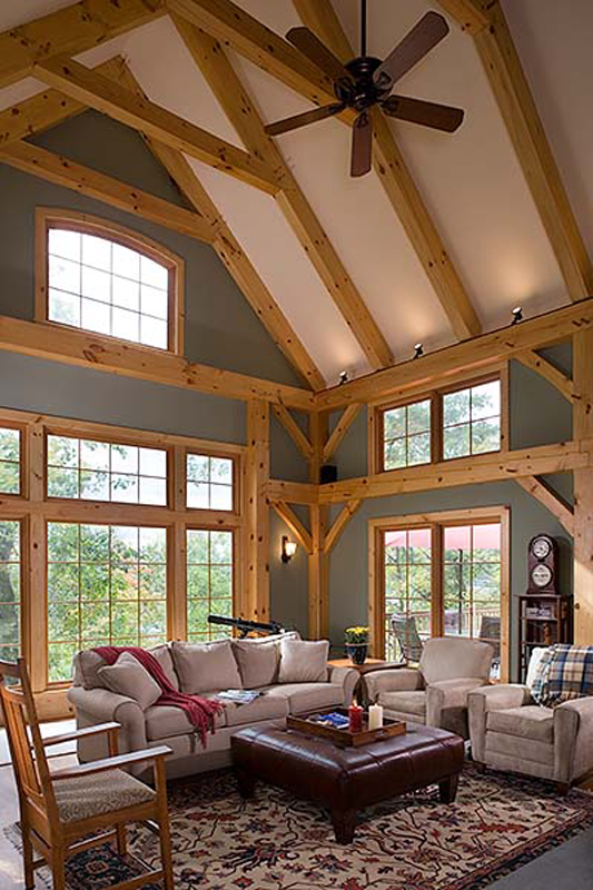 4508 square foot Custom Eastern White Pine Timber Frame Home with 4 bedrooms and 3.5 bathrooms