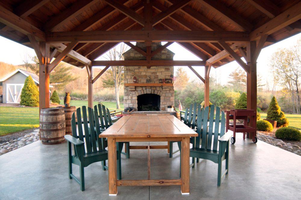 Timber Frame Pavilion Outdoor Dining