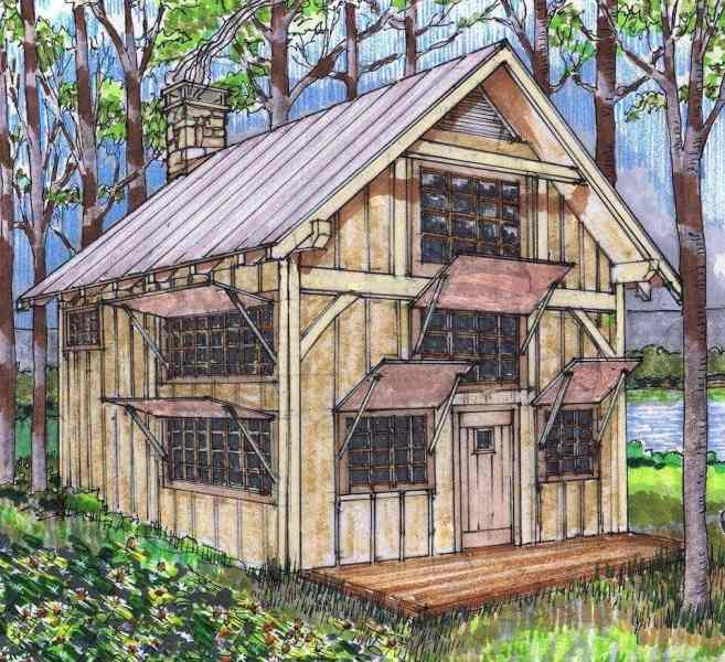20x24 Timber Frame Plan with Loft   Timber Frame HQ Small Timber Frame Cabin