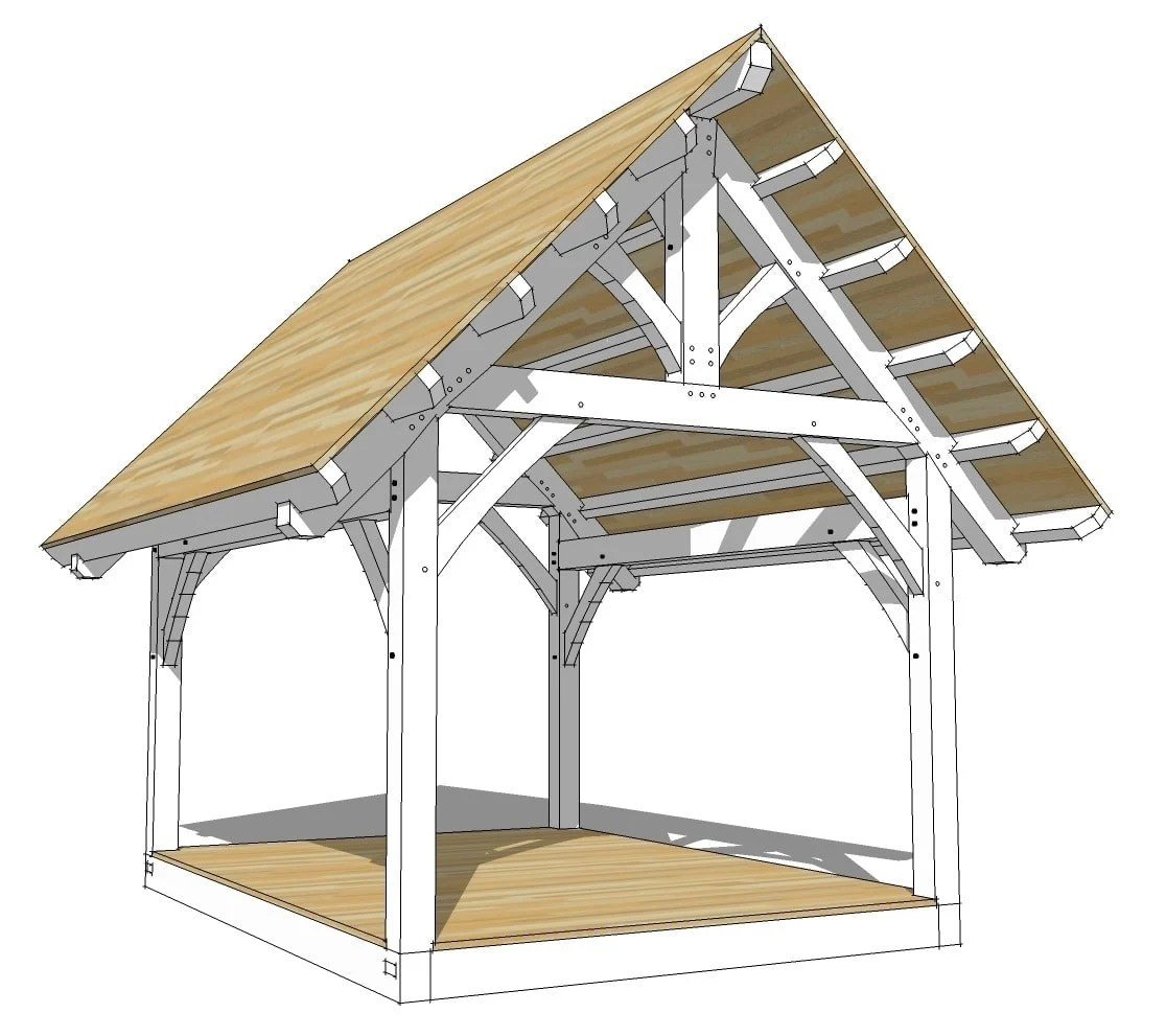 1216 King Post Timber Frame Plan Timber Frame HQ