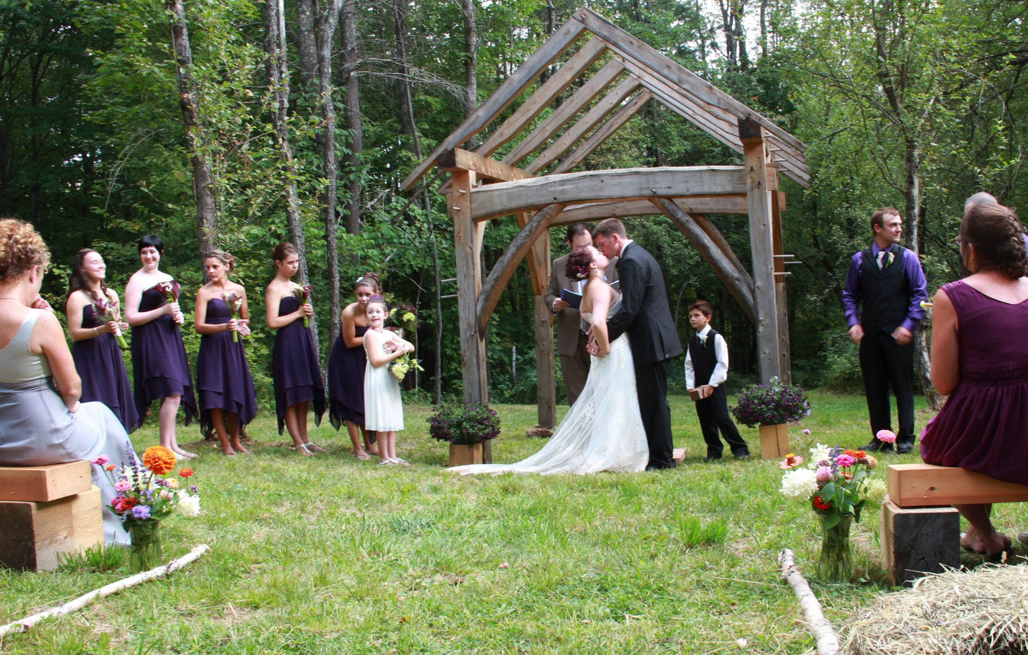 New Hampshire Country Wedding Arbor TimberHomes Vermont
