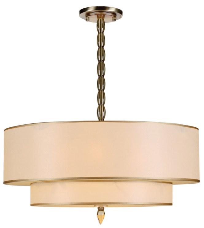 Crystorama Luxo 5 Light Drum Shade Brass Chandelier