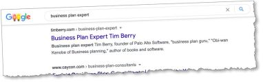 "Google ""business plan expert"" and I show up first."