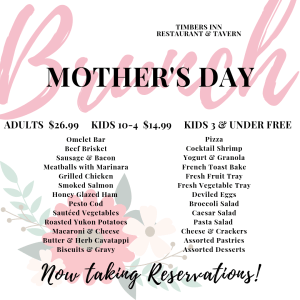Mother's Day Brunch Menu for our buffet on Sunday, May 12th, 2019. This is an all you can eat buffet featuring so many house made items. We include an omelet bar, breakfast items, and lunch items.