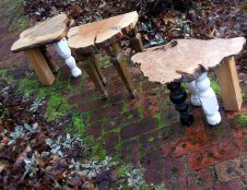 Repurposed Foot stools TRIPtych