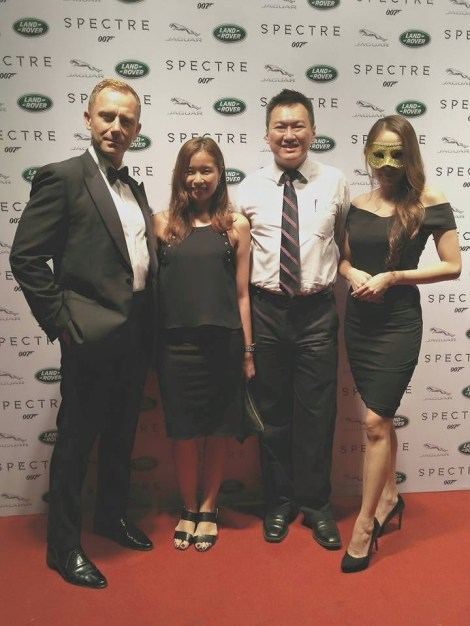 """With Michelle (my partner in crime for the night!), """"James Bond"""" and pretty Aileen Tan in the mask at the Land Rover premier of SPECTRE at Pavilion KL"""