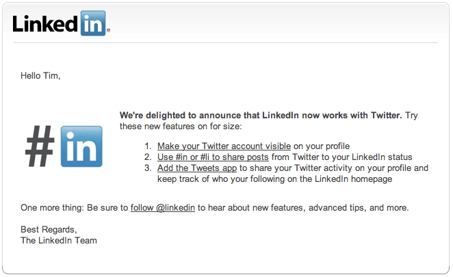 Twitter Updates in Linkedin