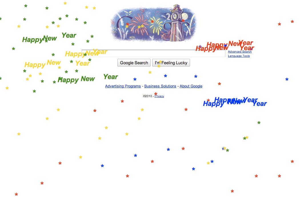 Google Happy New Year 2010 Fireworks