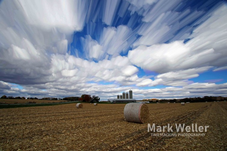 Timestack photography of clouds over harvest fields