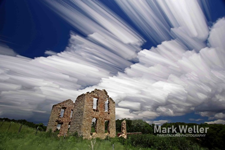 Timestack photography clouds farm house ruins