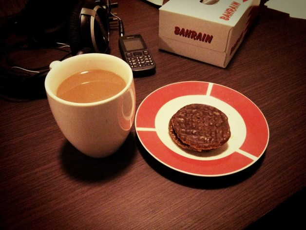 Day 63 After a few busy, eventful days, it's nice to be home with a cup of coffee and some dark chocolate Hobnobs.