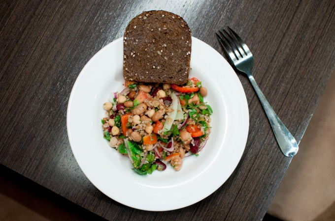 Mum's bean salad with a little bit of toast