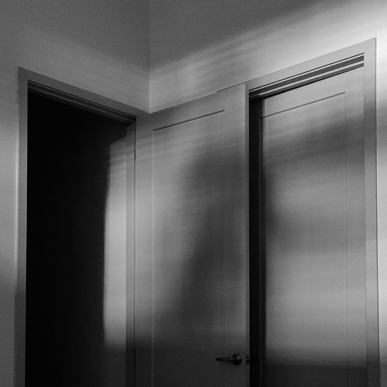 Black and white photo of an open door into darkness.
