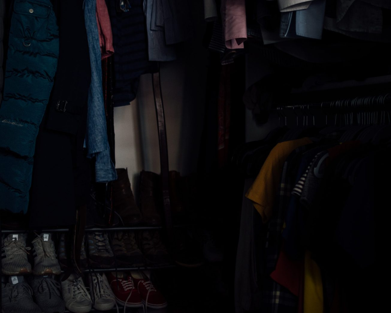 Photo of the inside of a walk-in closet.