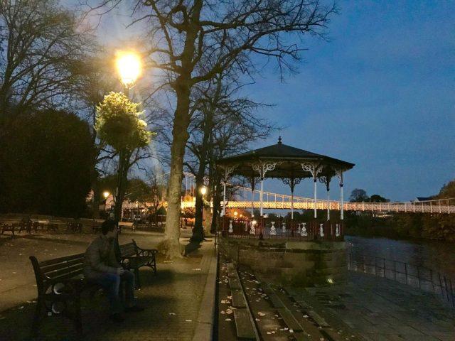 Chester nightlife River Dee and Suspension bridge
