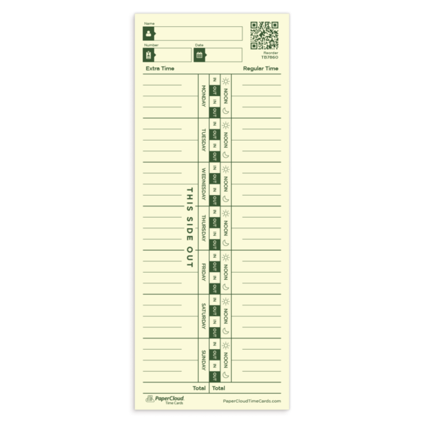 weekly pay periods single sided time card