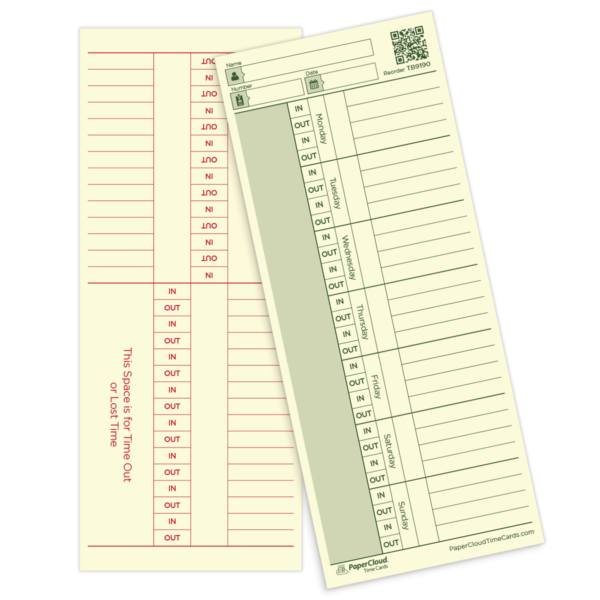 Weekly Employee Time Card - Double Sided - 3 3/8 x 8 1/4 ...