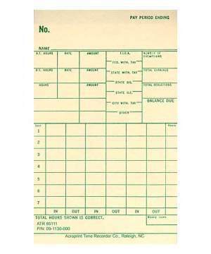ATR440 Time Card Weekly (pack of 250)