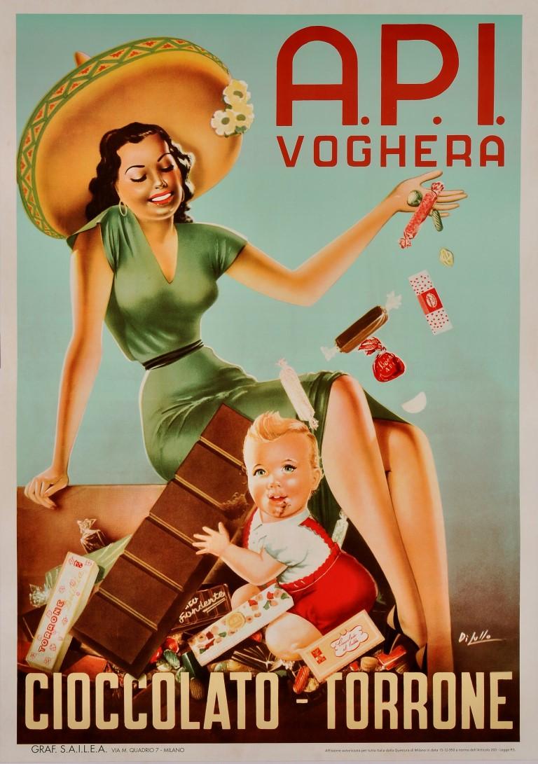 Ciocolatto Torrone A.P.I. Voghera by Di Lullo, Italy, circa 1950s