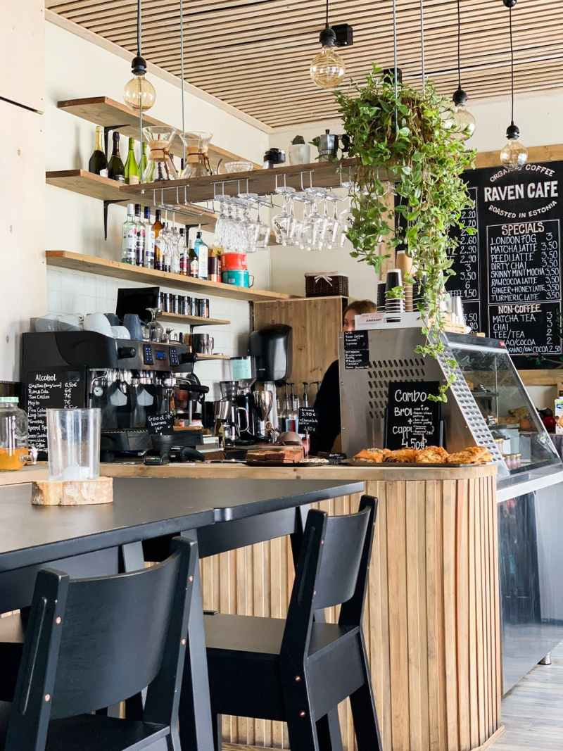 black wooden dining table in a coffee shop