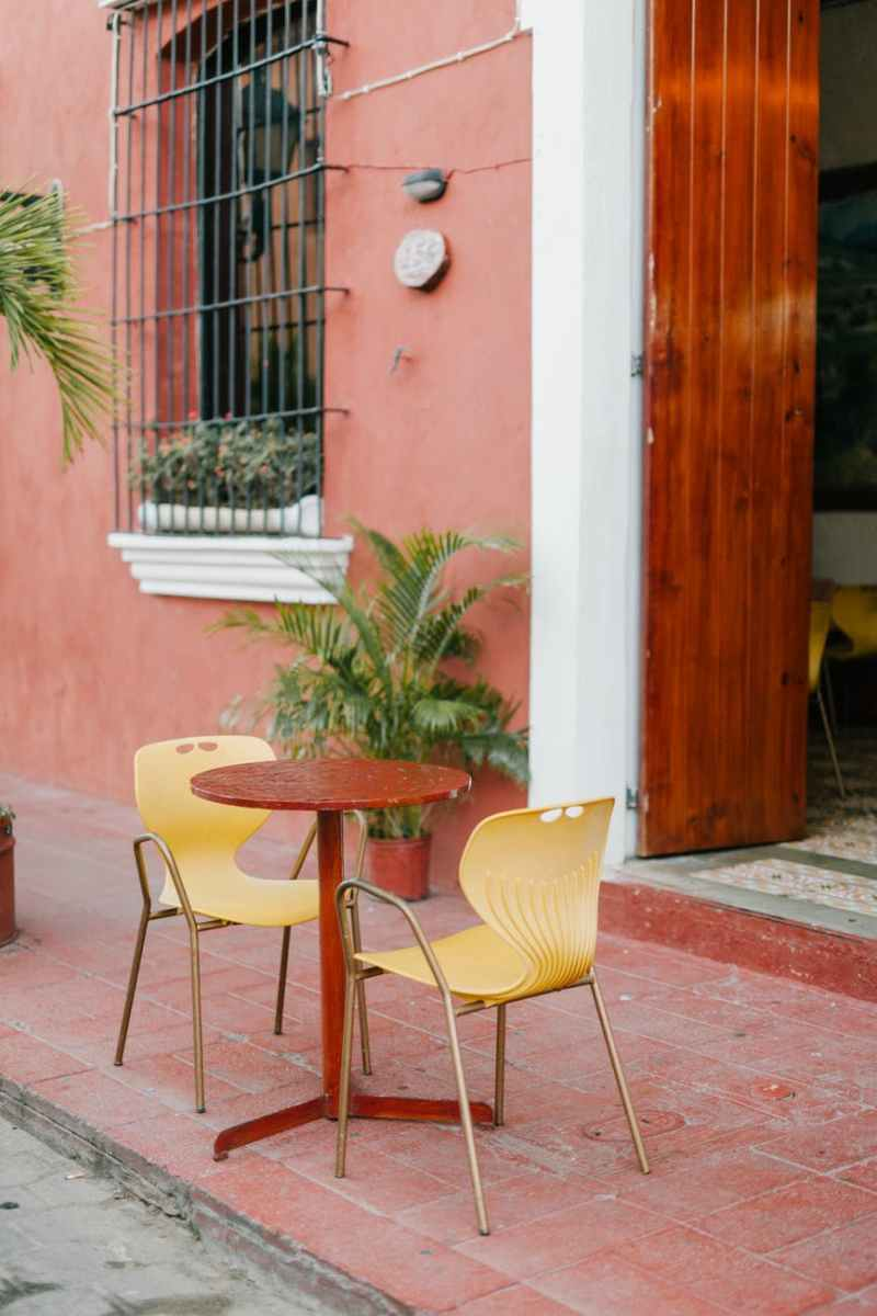 street cafe with round table and chairs