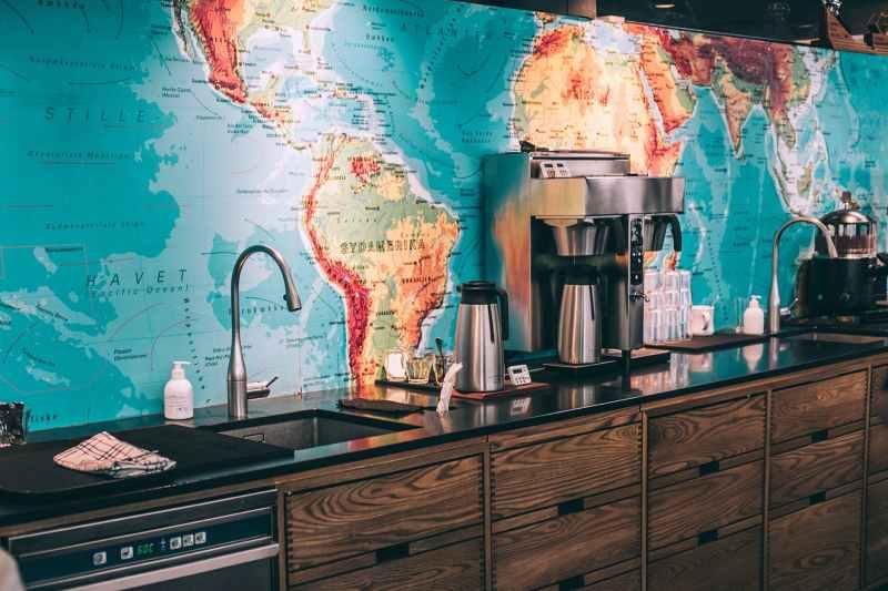 kitchen interior in modern cafe