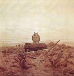 Landschaft mit Grab, Sarg und Eule (landscape with grave, coffin and owl), 1836-37