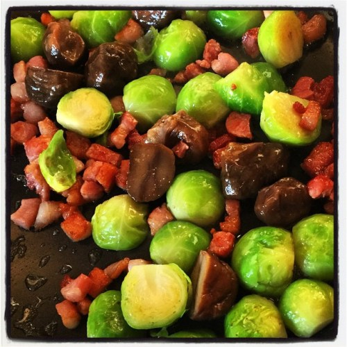 brussel sprouts pan fried with chestnut smoked bacon lardons and chestnuts