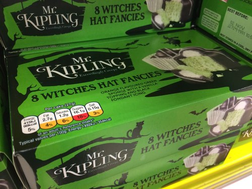 These Kipling's Witches Hat Fancies are described on the packet as: orange flavoured green sponge with a vanilla topping and black fondant icing.