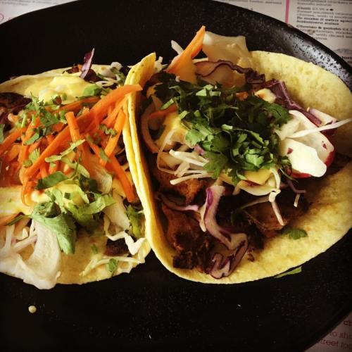 Ancho chicken baja tacos