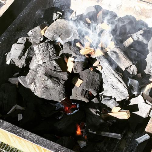 barbecuing over charcoal