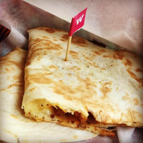 Quesadillas Large toasted tortilla oozing with melting mozzarella and classic Mexican ingredients.  British chorizo, made to our own special recipe, with diced sauteéd potatoes and fresh thyme.