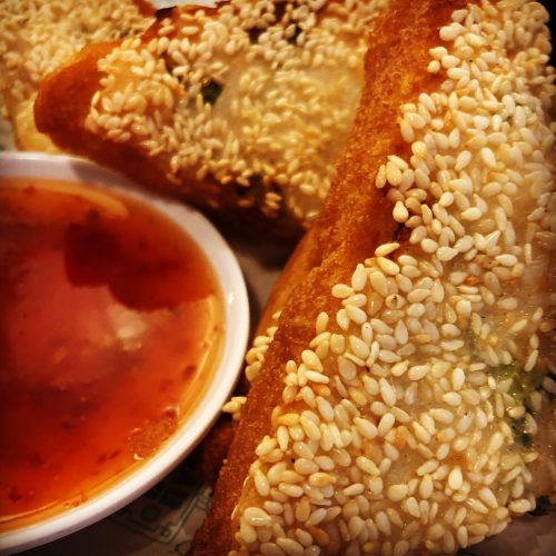 Ja Ha Mian Bao, Sesame Prawn Toast with Sweet Chilli Dip.
