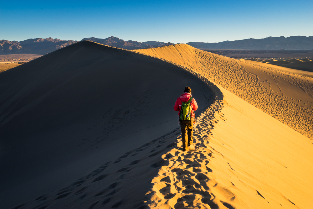 Walking along the crest of the highest dune in the Mesquite Dunes.