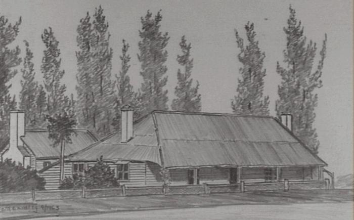 "Sketch by Gifford Eardley of ""An old cottage at Fairy Meadow"", (opposite intersection of Cabbage Tree Lane and Princes Highway). The cottage was formerly the Cabbage Tree Inn owned by Thomas Townsend in the 1850s and later in the 1880s George Beadle. It served as Fairy Meadow's Post Office for many years."