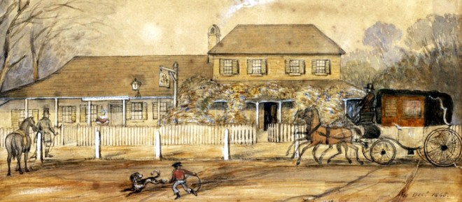 The Black Horse Inn, Richmond, showing the swinging sign in the 1860s.