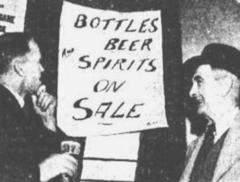 OLD TIME DRINKING - NO SHORTAGE of bottled beer or spirits exists at Bathurst, NSW, as this notice in a local hotel indicates - Queensland Times (Ipswich) Saturday 15 June 1946.
