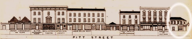 The Liverpool Arms, circled, from a 1848 drawing.