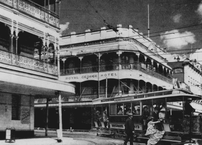 A tram passing the Royal George Hotel at the corner of Brunswick and Ann streets Fortitude Valley. Tram travellers complained the stop was too close to the pub. [Image digitally altered].