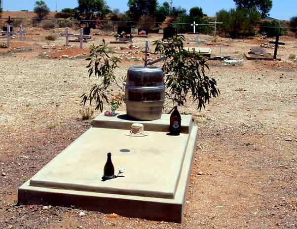 beer keg grave