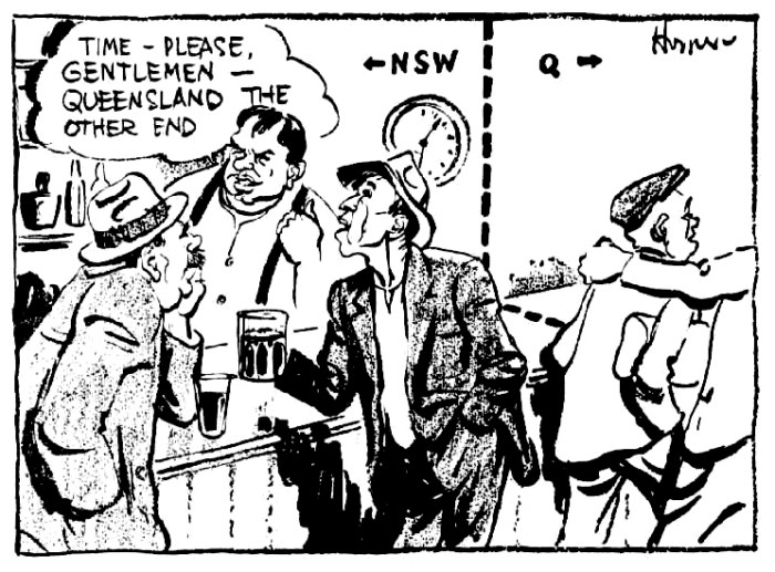 border bar qld nsw cartoon 1939
