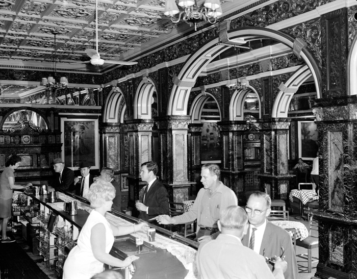 marble bar anuBarmaids serve drinkers in Marble Bar, Adams Tattersall's Hotel 1968 National Archives of Australia
