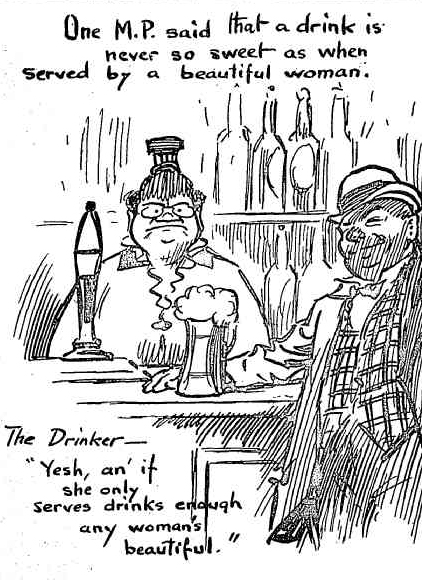 barmaid departs 1916