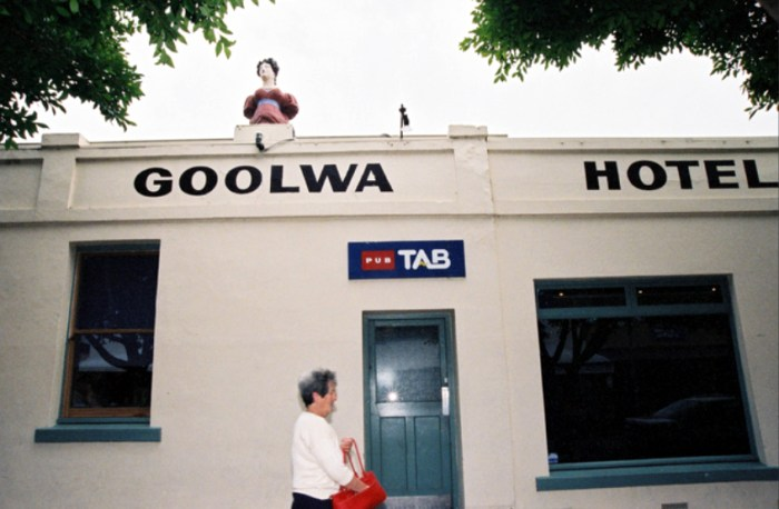 Goolwa Hotel Figurehead replica outside state library of SA