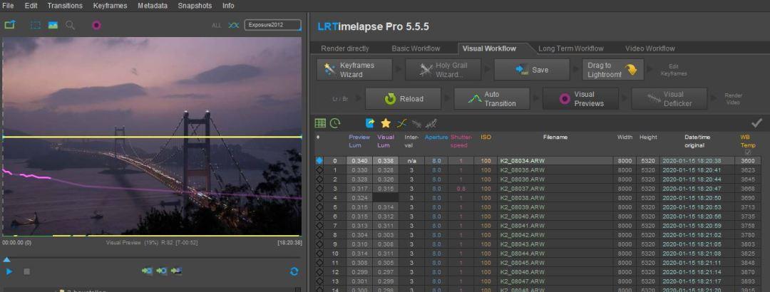 Loading visual previews in LRTimelapse