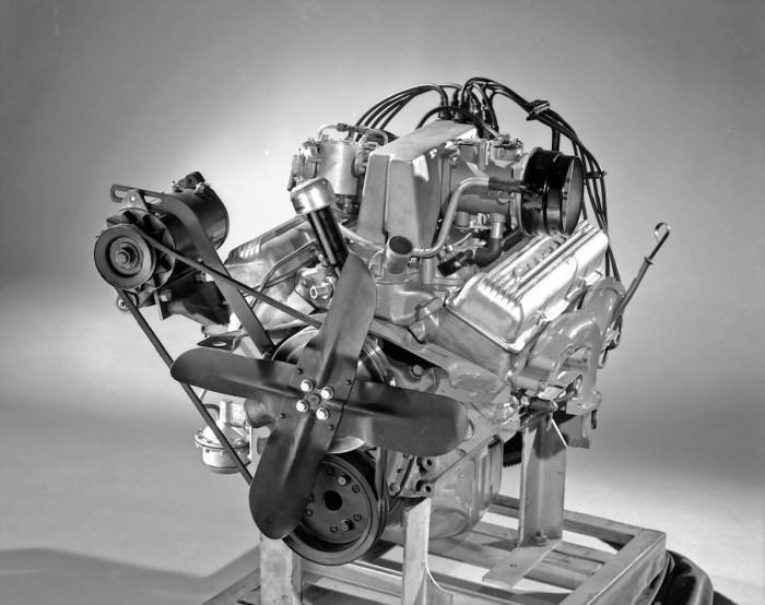 In carbureted form, the 283-inch Chevrolet small-block V8 was good for up to 270 horsepower; with a solid-lifter cam and Rochester mechanical fuel injection (seen here), the factory horsepower number grew to 290. (Photo courtesy Chevrolet/GM Media Archives)